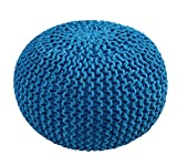 """100% Cotton Hand Knitted Twisted Cable Style Dori Pouf/Floor Ottoman Size 20"""" Inches Diameter 14"""" Inches Height (Teal)"""