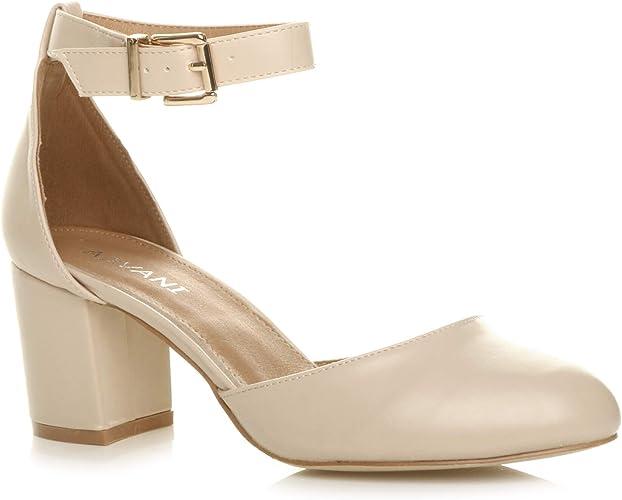 Damen Mitte Blockabsatz Knöchelriemen Schnalle Elegant Pumps Sandalen Größe