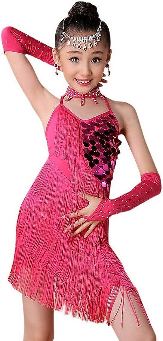 Happy Cherry Girl Sparkling Sequin Double Tassel Dancing Latin Rumba Salsa Dress