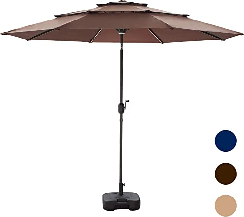 LOKATSE HOME 9.5Ft 3 Tier Patio Umbrella with Base Outdoor, Solar LED Lights, w Tilt Adjustment, 8 Aluminum Rib, Crank, Metal Pole for Garden, Deck, Market and Pool, Set, Coffee