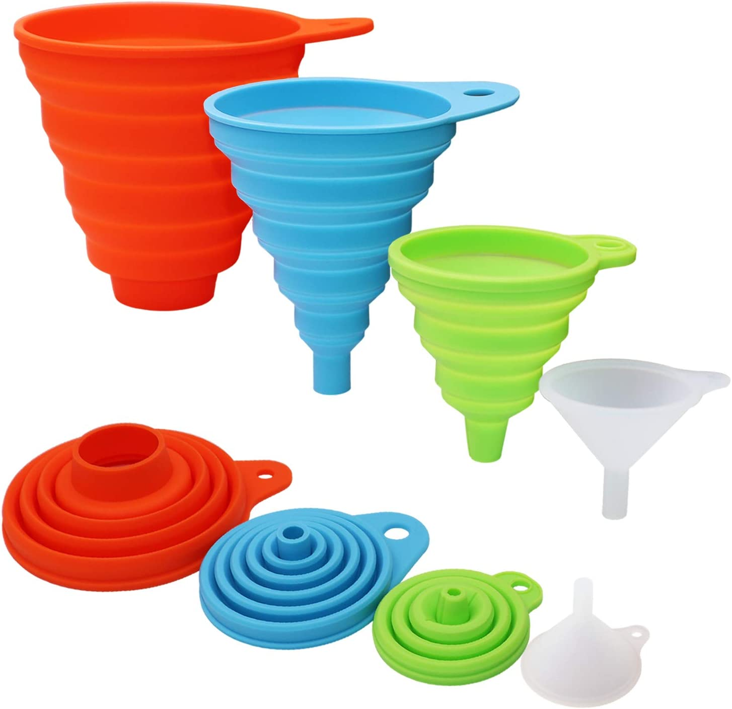 Silicone Collapsible Food Funnel Set, 4 Different Sizes Large Medium Small and Mini Funnels for Kitchen Use, Food Grade Funnel for Filling Bottles and Canning Jars, Liquid Solid Transfer