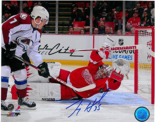 JIMMY HOWARD AUTOGRAPHED DETROIT RED WINGS 8X10 PHOTO #7 DIVING SAVE