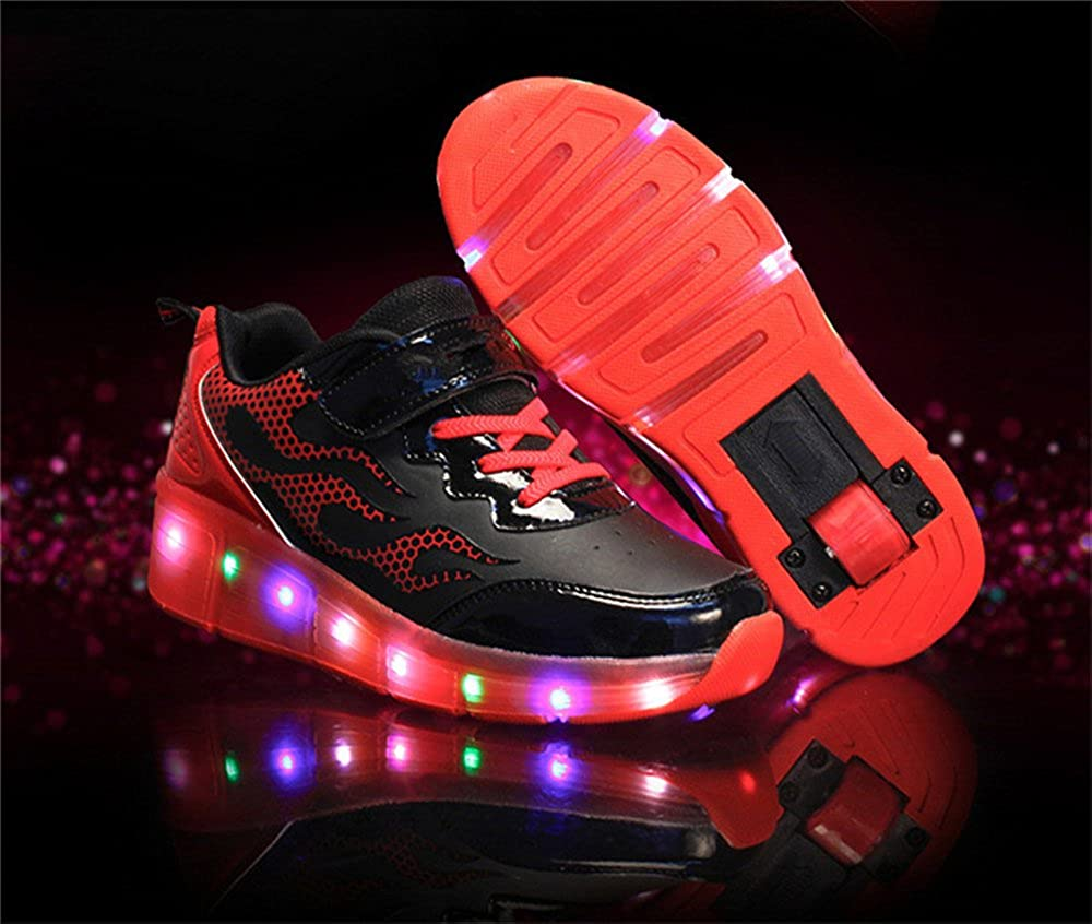YSNJL Kids Boys Girls High-Top Shoes LED Light Up Sneakers Single Wheel Double Wheel Roller Skate Shoes