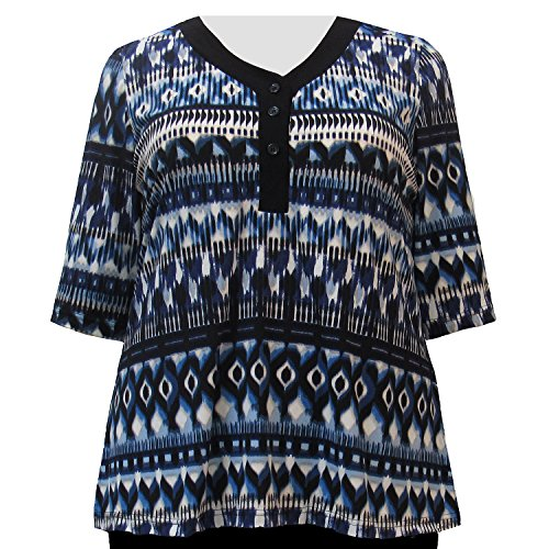 A Personal Touch Blue Watercolor Tribal 3/4 Sleeve Women'...