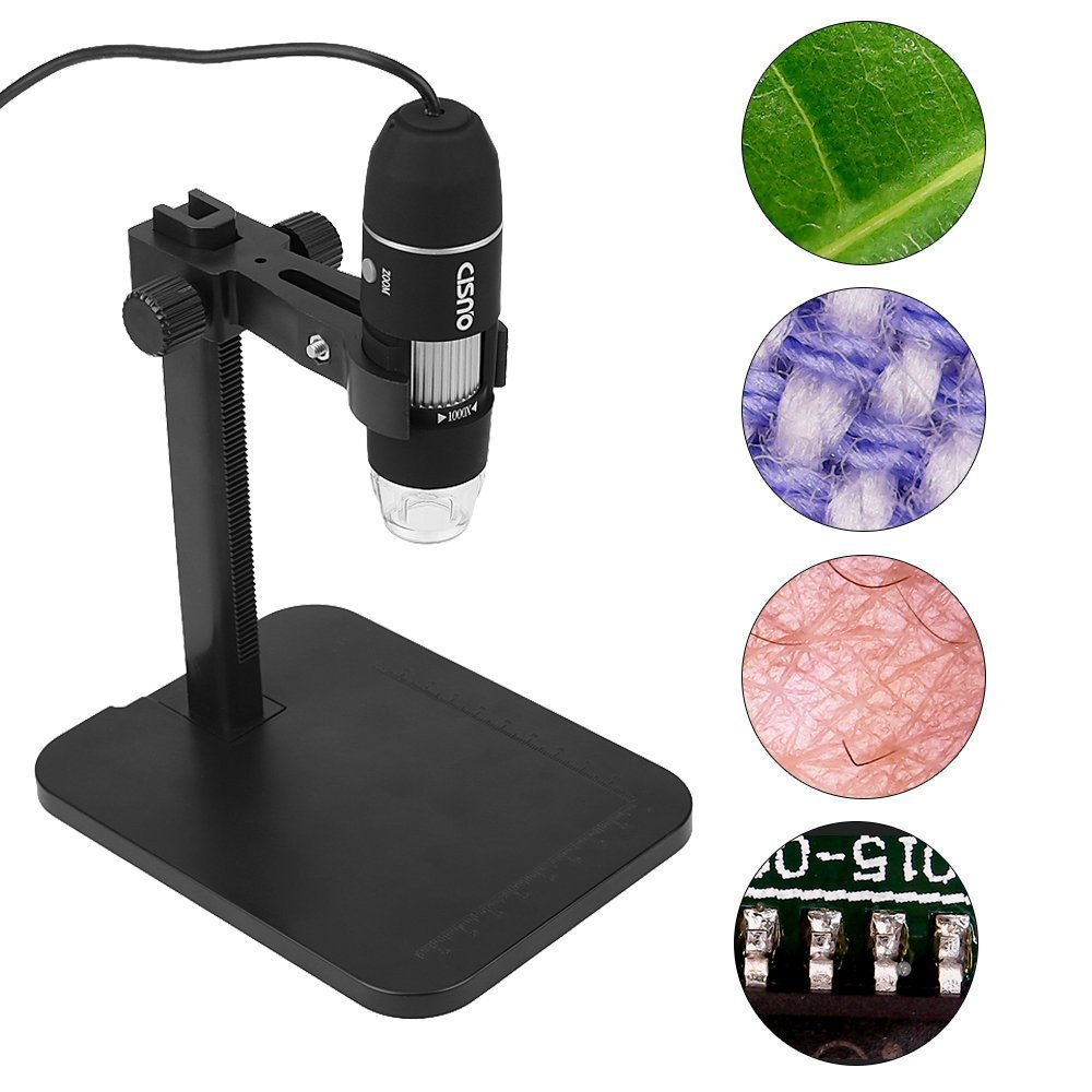 CISNO USB 2.0 Digital Microscope, 2MP 1000X Magnification 8 LED Endoscope Zoom Camera Magnifier with Fixed Stand, Compatible with Windows by CISNO
