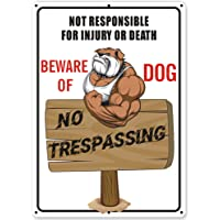 Uflashmi Beware of Dog Sign No Trespassing Signs for Fence Yard, Funny Dog Warning Sign, Metal Aluminum, 10x14 inch