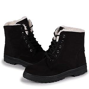 Susanny Suede Flat Platform Sneaker Shoes Plus Velvet Winter Women's Lace Up Black Cotton Snow Boots 11 B (M) US