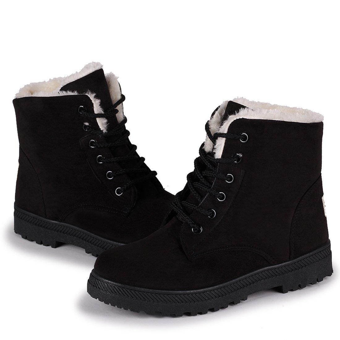 Susanny Suede Flat Platform Sneaker Shoes Plus Velvet Winter Women's Lace up Black Cotton Snow Boots 8 B (M) US