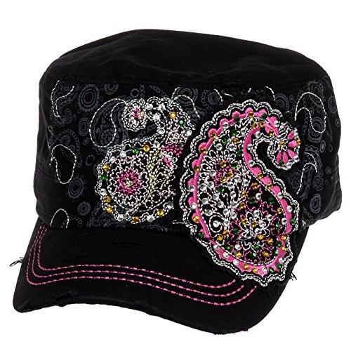 Crystal Case Womens Cotton Rhinestone Paisley Cadet Cap Hat (Black) (Cap Cadet Rhinestone)