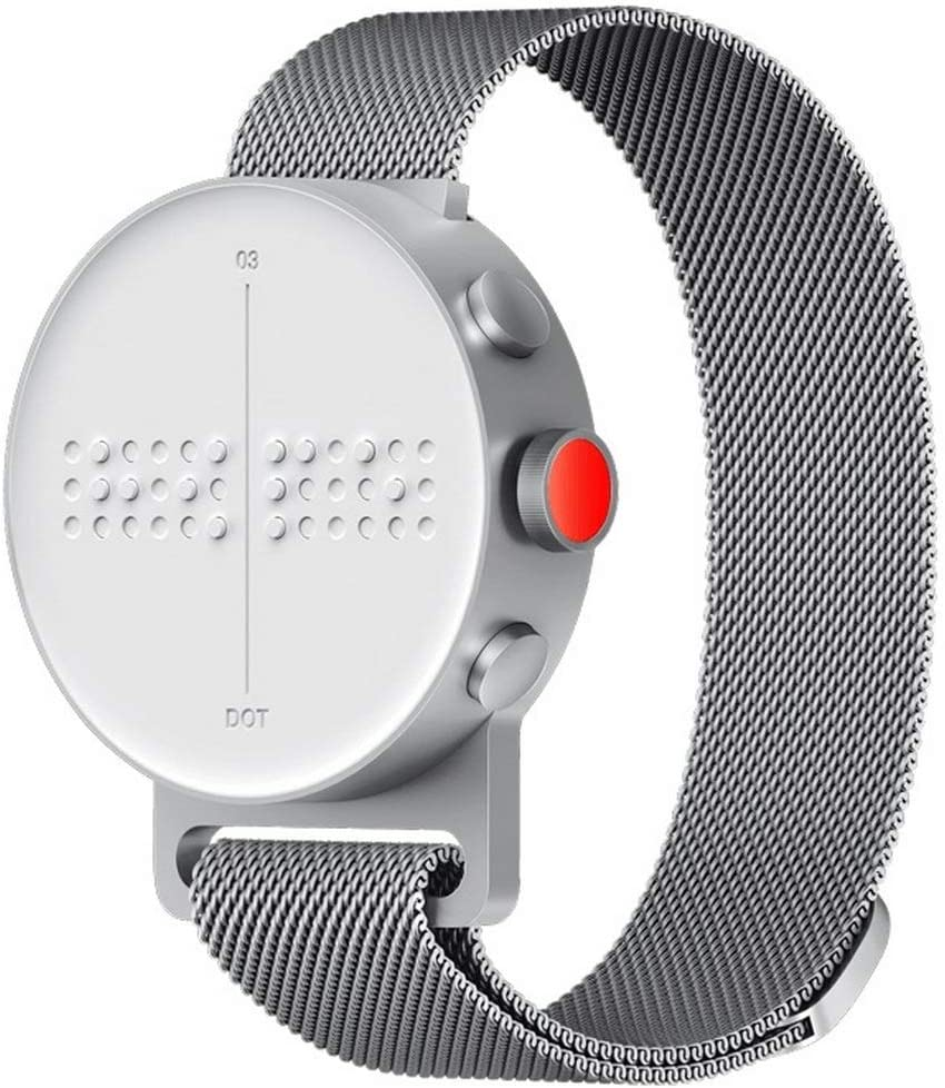 DOT Watch - The First Braille & Tactile Bluetooth Smartwatch in Silver  Metal Strap (Large Loop Size): Amazon.ca: Cell Phones & Accessories