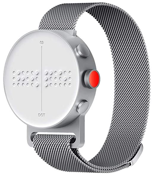 bb2e12af5 Amazon.com: DOT Watch - The First Braille & Tactile Bluetooth Smartwatch in  Silver Metal Strap (Large Loop Size): Cell Phones & Accessories