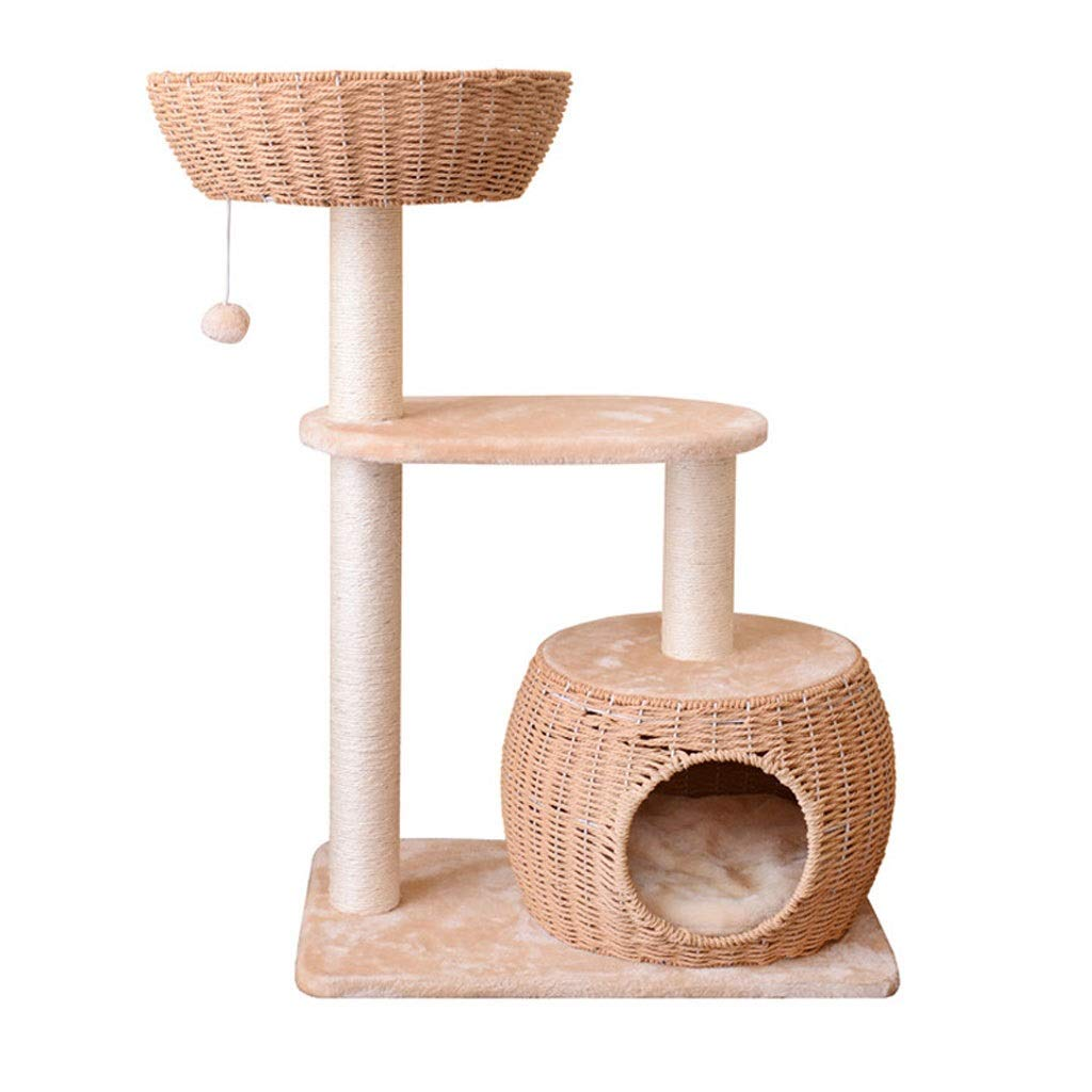 TT Three-Layer cat treem,Cat Tower Climbing Toy,Kitten Activity Tower,Cat condo Play House,Sisal cat Scratch Board(Khaki)