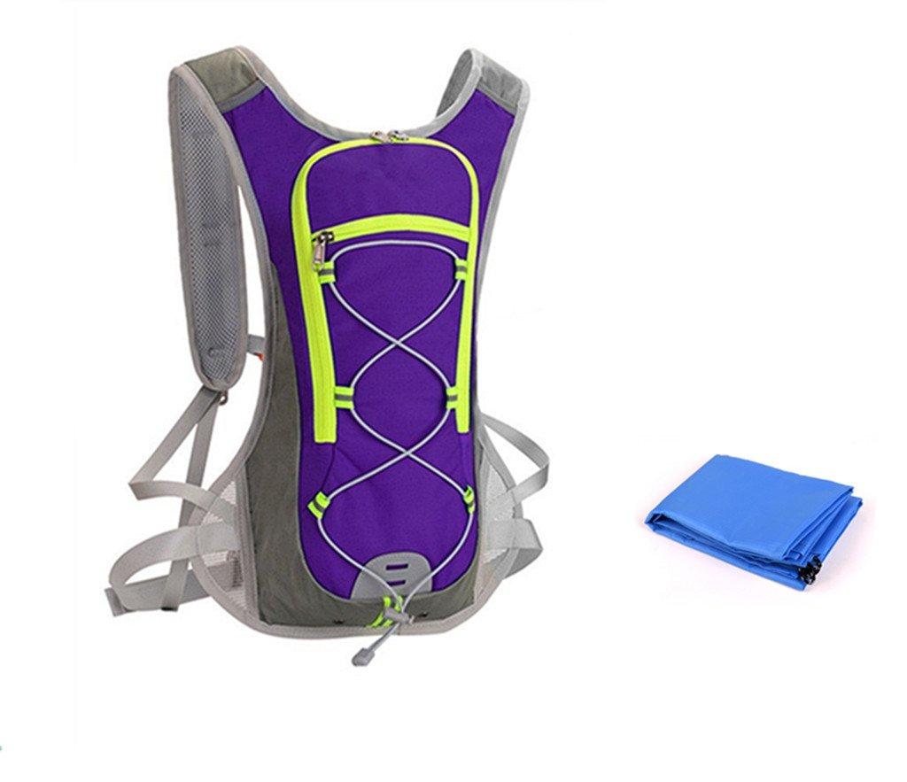 unafreely Hydration Packバックパック水膀胱バッグピクニックマット付きサイクリングハイキング水和パックリュックサック旅行キャンプ B07DJ8XXV5 パープル
