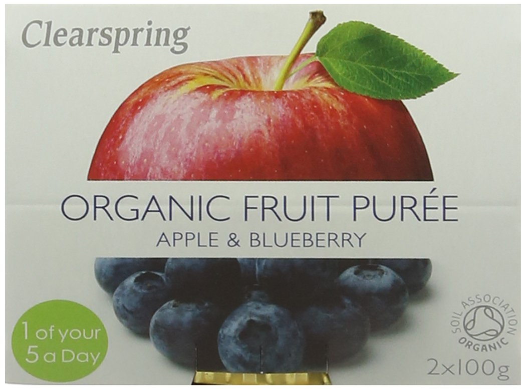 Clearspring Organic Apple and Blueberry Fruit Puree 2x100 g (Pack of 12) Clearspring Ltd 82109