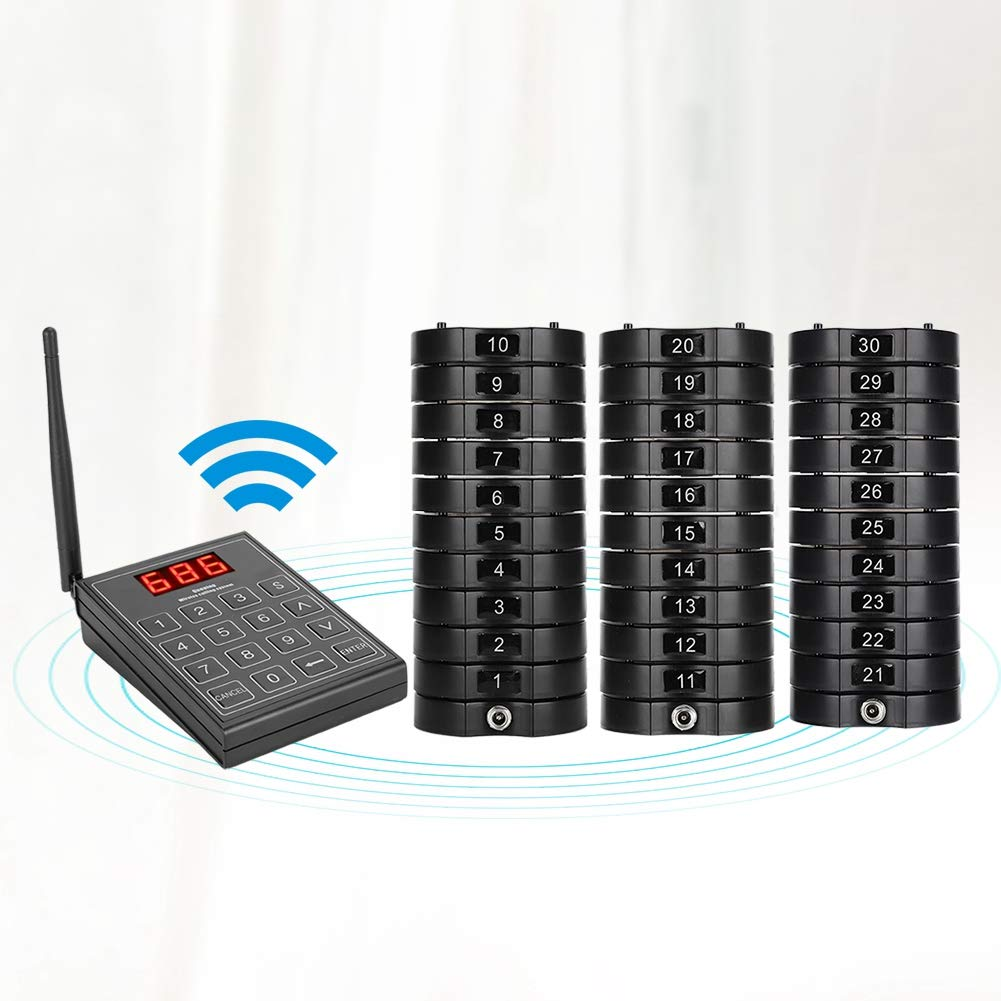 Zopsc Wireless Pager System, Restaurant Wireless Calling System Queuing Buzzer with 30pcs Coaster Pagers and a Keypad Suitable for Restaurants, Cafeteria etc.(US) by Zopsc