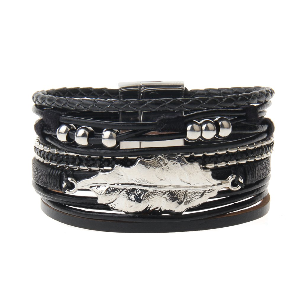 Black Leather Wrap Bracelet – Leaf and 6 Pretty Alloy Beads – Cuff Bangle – Magnetic Buckle – Charm Bracelet for Women,Girl – A Perfect Gift for Valentine's Day,Mother's Day By Jenia