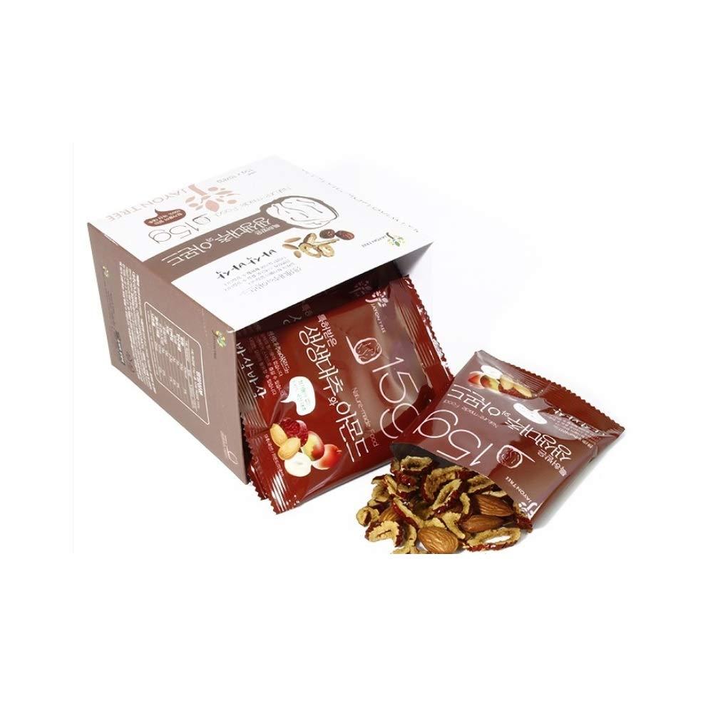 SAENG SAENG JUJUBE Korean Food Dried Dates & Almond Sliced Snack Chips (0.52 oz X 10 Packs)