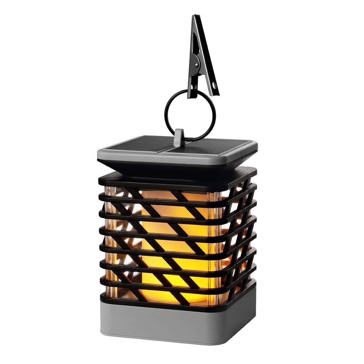 LED Solar Light Dance Light Flame Outdoor Chandelier Decorative Light Solar Waterproof Umbrella Lantern Night Light Automatic Sensor Garden Street Light Safety