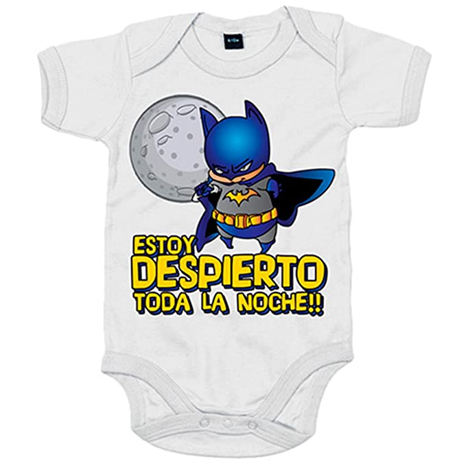 Body bebé Batman Estoy despierto toda la noche - Blanco, 6-12 meses: Amazon.es: Bebé
