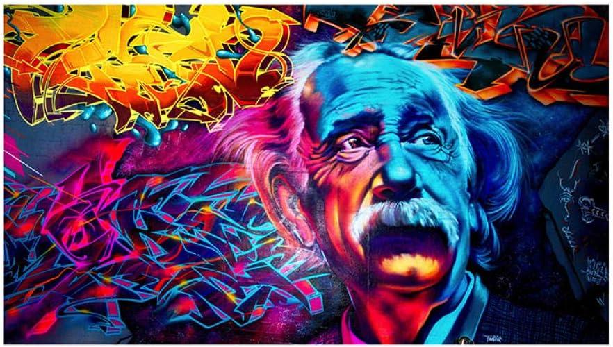WJY Quadri Colorati Astratti Albert Einstein Senza Cornice Immagini Dipinti ad Olio Stampa su Tela Ritratto Pitture Decorative 50cm x75cm Nessuna Cornice