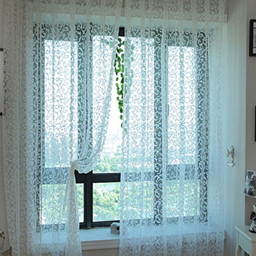 Hot Sale! 100x200cm Pastoral Floral Tulle Voile Door Scarf Valances Drape Sheer Window Curtains 4 Colors (100 x 200 CM, White) -