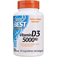 Doctor's Best Vitamin D3 5000IU, Non-GMO, Gluten Free, Soy Free, Regulates Immune Function, Supports Healthy Bones, 180…