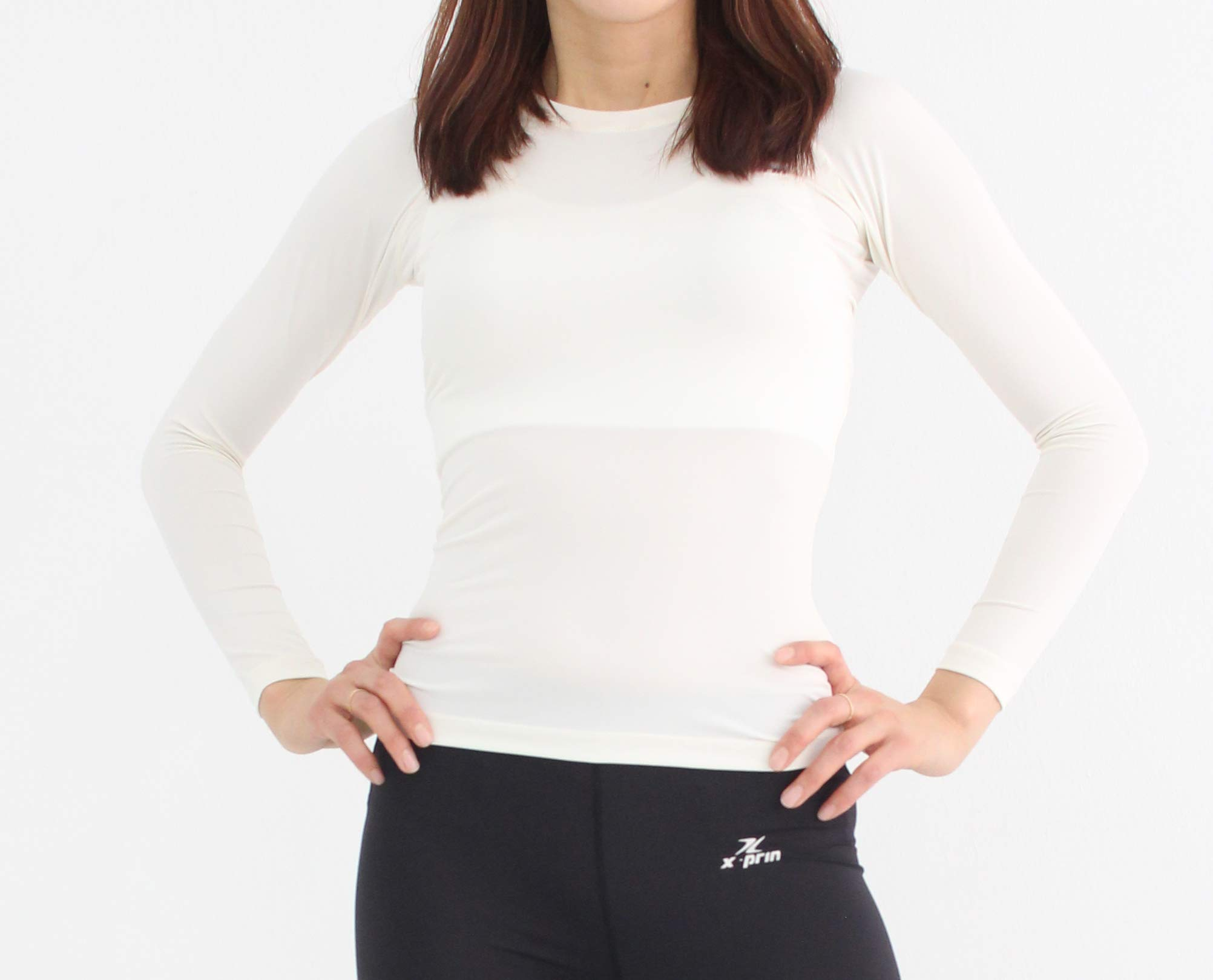 Xprin A100 Series Women's Long Sleeve Cool Base Layer Compression Shirt Sports Wear (S, A102 WHITE)