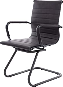 CIMOO Office Conference Chair Reception Guest Chairs PU Leather Mid Back Waiting Patient Room Chairs with Arms, Heavy Duty, Sled Base (Retro Black, 1PC)