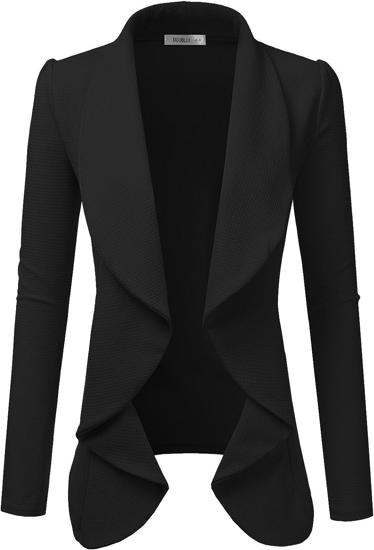 Doublju Classic Draped Open Front Blazer for Women with Plus Size