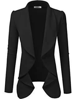 51e7e407c24 Doublju Womens Lightweight Classic Draped Open Front Blazer with Plus Size