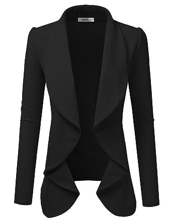 066c53f792340 Doublju Classic Draped Open Front Blazer for Women with Plus Size Black 1X