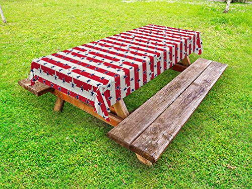 American Federal Collection - Ambesonne USA Outdoor Tablecloth, Patriotic Pattern Love My Country Continent American Federal Freedom Image, Decorative Washable Picnic Table Cloth, 58 X 120 inches, Coconut Navy Blue Red