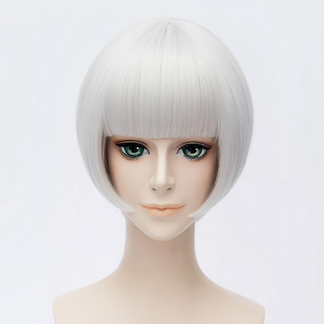 Coolsky Cosplay Costume Wigs Silver White Short Hair Wig