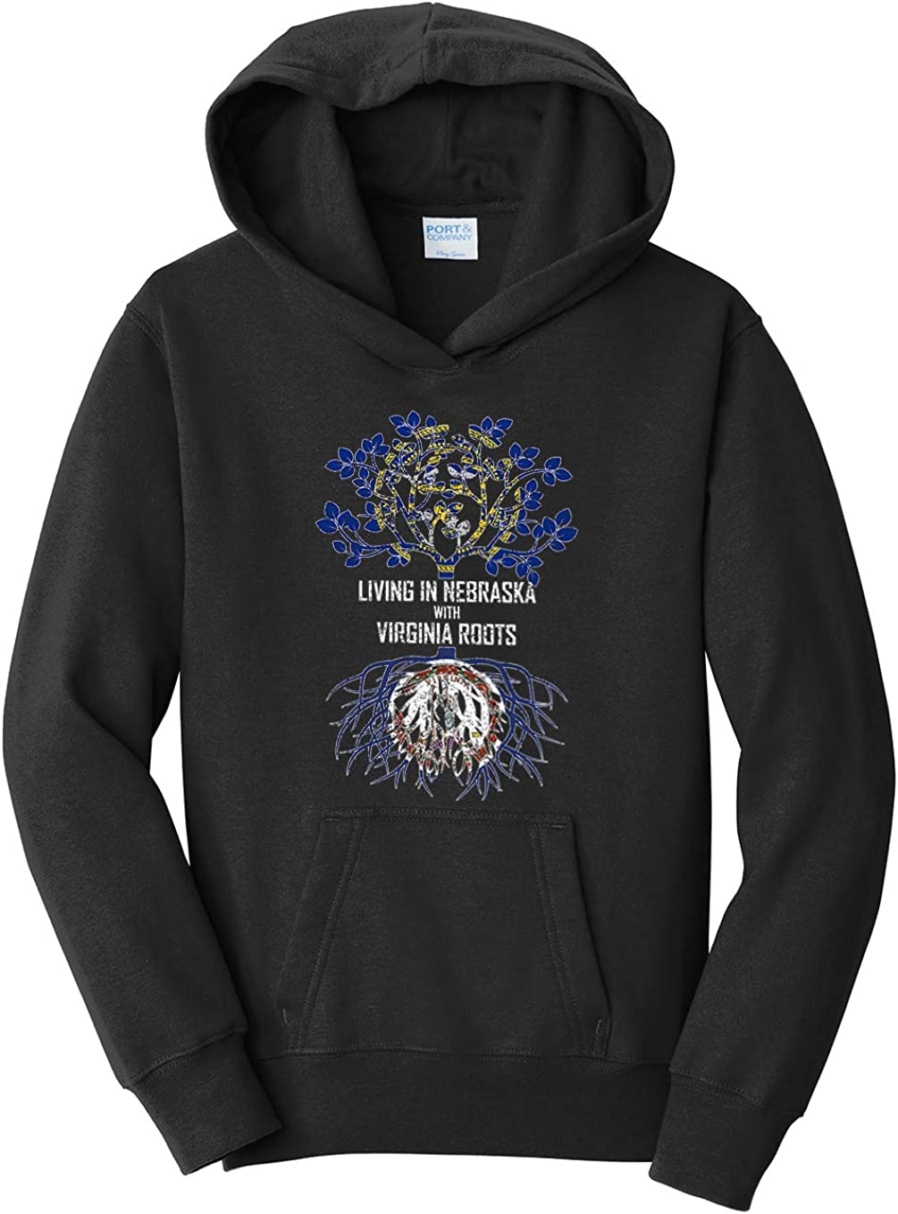 Tenacitee Girls Living in Nebraska with Virginia Roots Hooded Sweatshirt