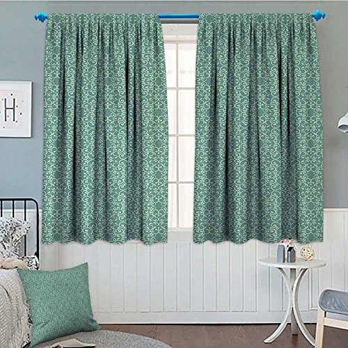 (Green Window Curtain Drape Vintage Style Victorian Garden Pattern Antique Design Old Fashion Ornaments Decorative Curtains For Living Room 63