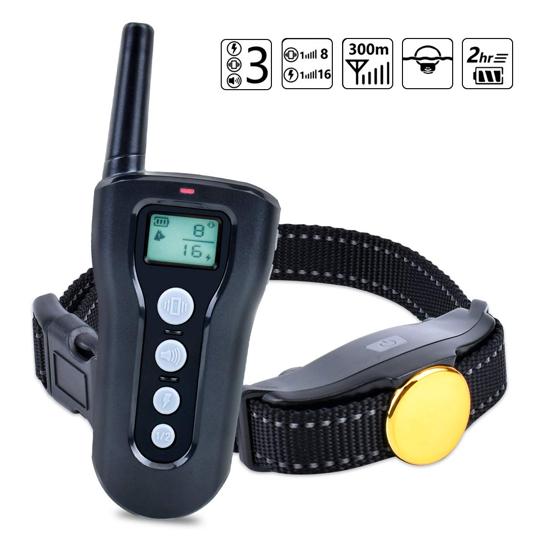 CutePet Remote Dog Training Collar - 330 Yard Range - Rechargeable & Waterproof Dog Bark Shock Collar with Beep/Vibration/Shock Mode for Small Medium and Large Dogs