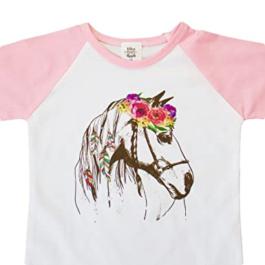 Amazon girls pink raglan 34 sleeve floral horse boho tee shirt girls pink raglan 34 sleeve floral horse boho tee shirt baseball tee shirt for mightylinksfo