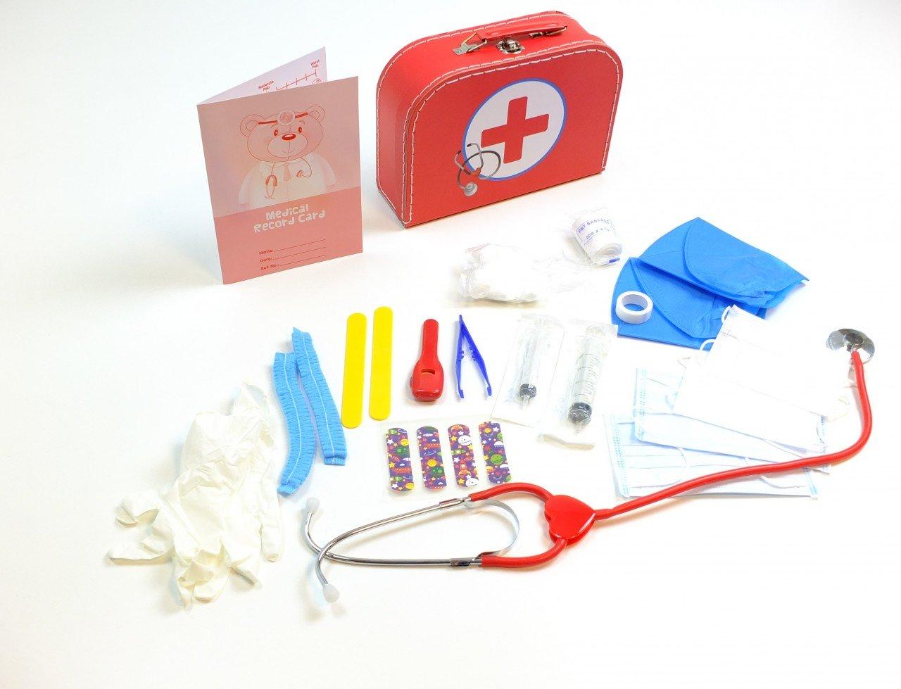 Doktor Koffer / stabiler Pappkoffer mit Metallgriff / mit medizinischen Instrumenten und Zubehör / Material: Pappe, Metall + Kunststoff / Maße: 25 x 18 x 8 cm / für Kinder ab 3 Jahren HUB-Toys