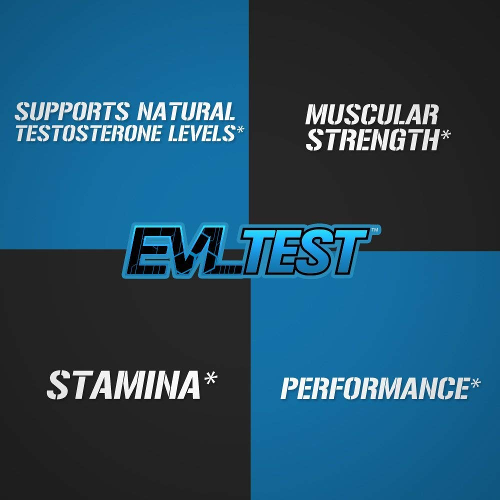 Evlution Nutrition Testosterone Booster EVL Test Training Recovery Amplifier* Supports Natural Testosterone Levels, Muscular Strength, Stamina Optimal Sleep, 30 Servings