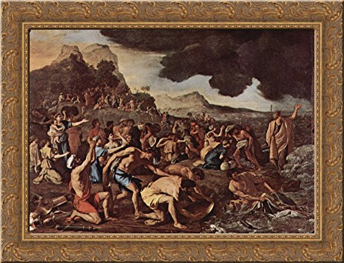 The crossing of the Red Sea 24x20 Gold Ornate Wood Framed Canvas Art by Poussin, Nicolas (The Crossing Of The Red Sea Poussin)