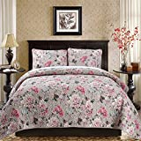 PinkMemory 3pc Quilt Set with Matching Pillow Shams Well Designed Peony Bedspread Coverlet Set Summer Patchwork Quilt Set Full/Queen