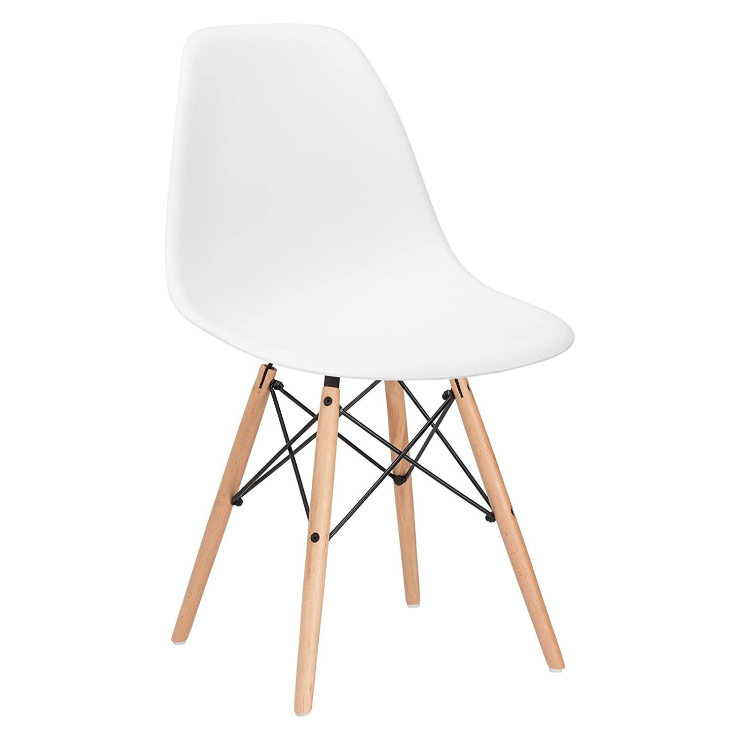 Eames chair white plastic - Amazon Com Poly And Bark Eames Style Molded Plastic Dowel Leg Side Chair Dsw Natural Legs Set Of 2 Kitchen Dining