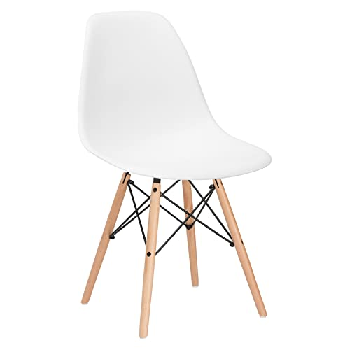 Poly and Bark Modern Mid-Century Modern Side Chair with Natural Wood Legs for Kitchen, Living Room and Dining Room in White