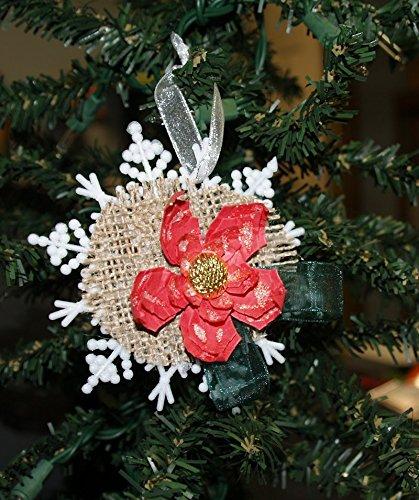 christmas ornament poinsettia snowflake ornament shabby chic snowflake - Handmade Shabby Chic Christmas Decorations
