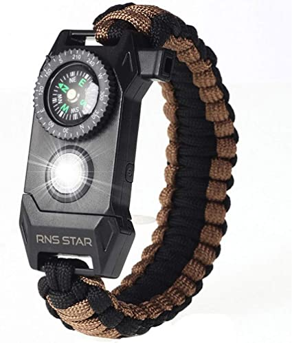 Paracord Survival Bracelet Compass Whistle Camping Gear//Kit new 2018