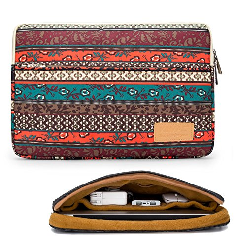 Kinmac New Bohemian 360 Degree Protective 13 inch Water Resistant Laptop Sleeve Bag Case with Multi Pockets for 13 inch to 13.3 inch Laptop