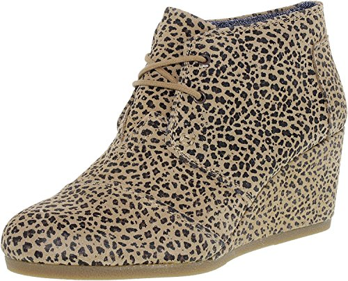 TOMS Women's Cheetah Suede Printed Desert Wedges 10006251