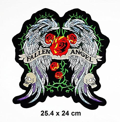Diy Fallen Angel Costume (Big Jumbo FALLEN ANGEL Wings Red Rose Lady Rider Biker Logo Back Motorcycles patch Logo Vest Jacket Hat Hoodie Backpack Patch Iron On)