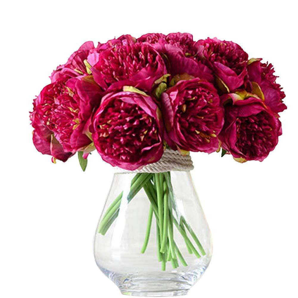 angel3292 クリアランスディール 人工植物 ブーケ1本 5本の花 人工牡丹 シルクフラワー ブライダル ウェディング ホーム ガーデン 装飾 Z673K7V4X00FPE 1 B07H3QZRKW パープリッシュレッド(purplish red)