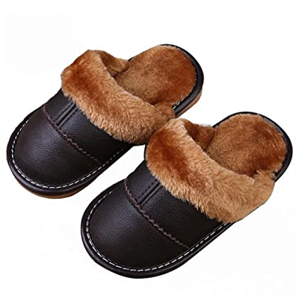 c973e573b Asunflower Kids House Slippers, Close Toed Leather Mules Slippers Fur  Lining Winter Home Shoes for